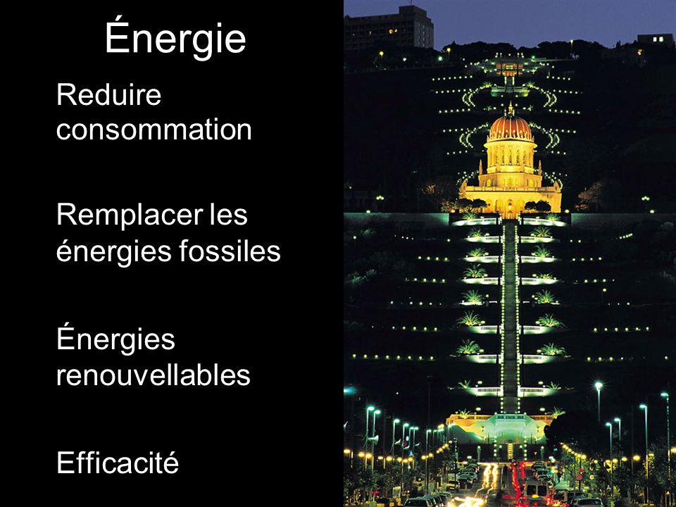 Énergie Reduire consommation Remplacer les énergies fossiles Énergies renouvellables Efficacité