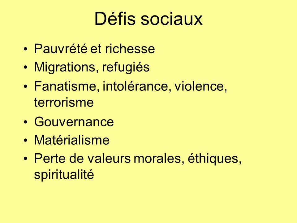 Défis sociaux Pauvrété et richesse Migrations, refugiés Fanatisme, intolérance, violence, terrorisme Gouvernance Matérialisme Perte de valeurs morales
