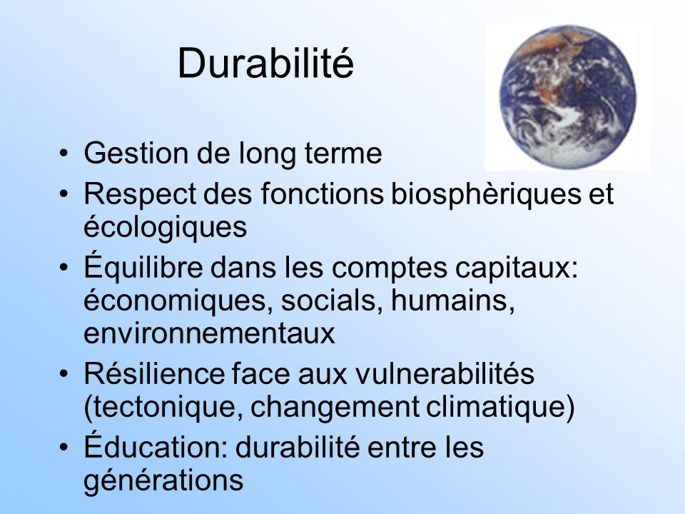 Durabilité Gestion de long terme Respect des fonctions biosphèriques et écologiques Équilibre dans les comptes capitaux: économiques, socials, humains