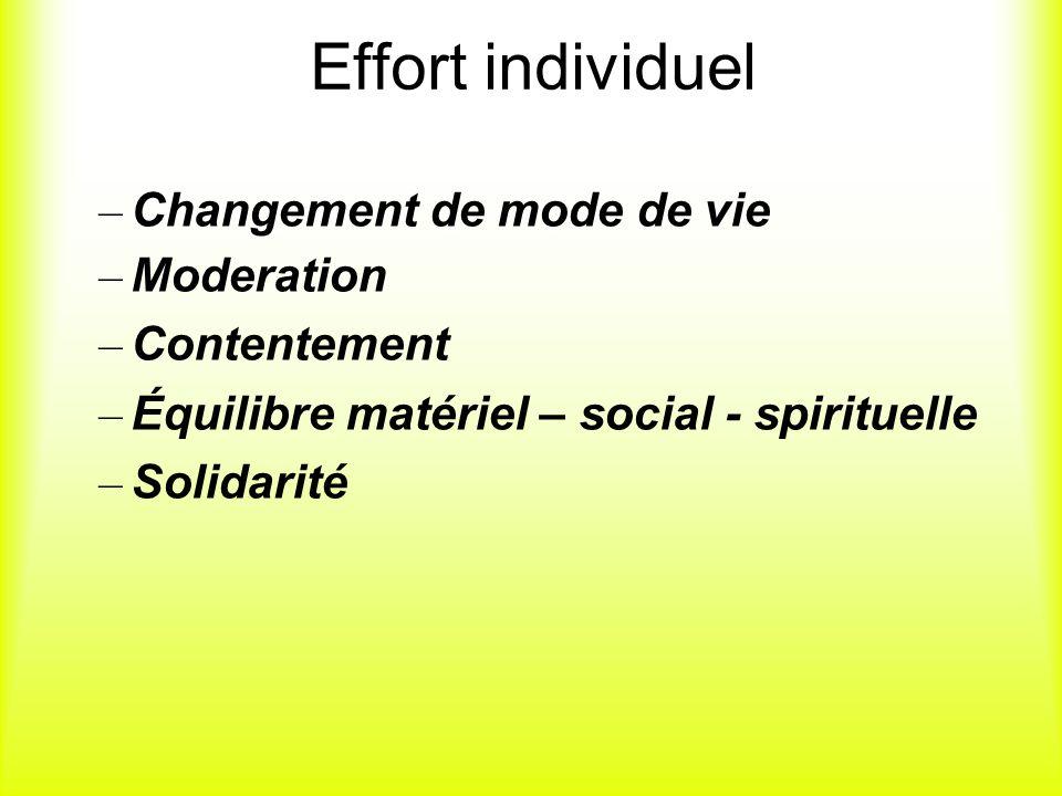 Effort individuel – Changement de mode de vie – Moderation – Contentement – Équilibre matériel – social - spirituelle – Solidarité