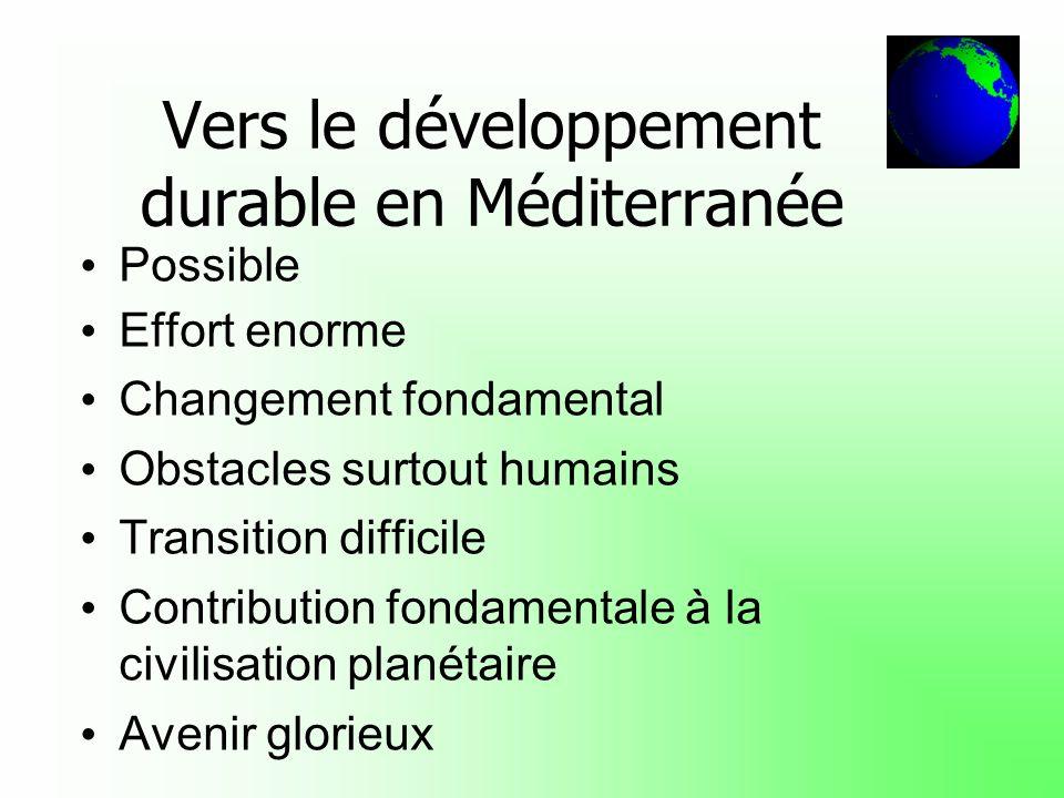 Vers le développement durable en Méditerranée Possible Effort enorme Changement fondamental Obstacles surtout humains Transition difficile Contributio