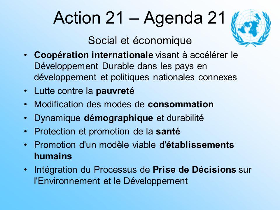 Action 21 – Agenda 21 Social et économique Coopération internationale visant à accélérer le Développement Durable dans les pays en développement et po