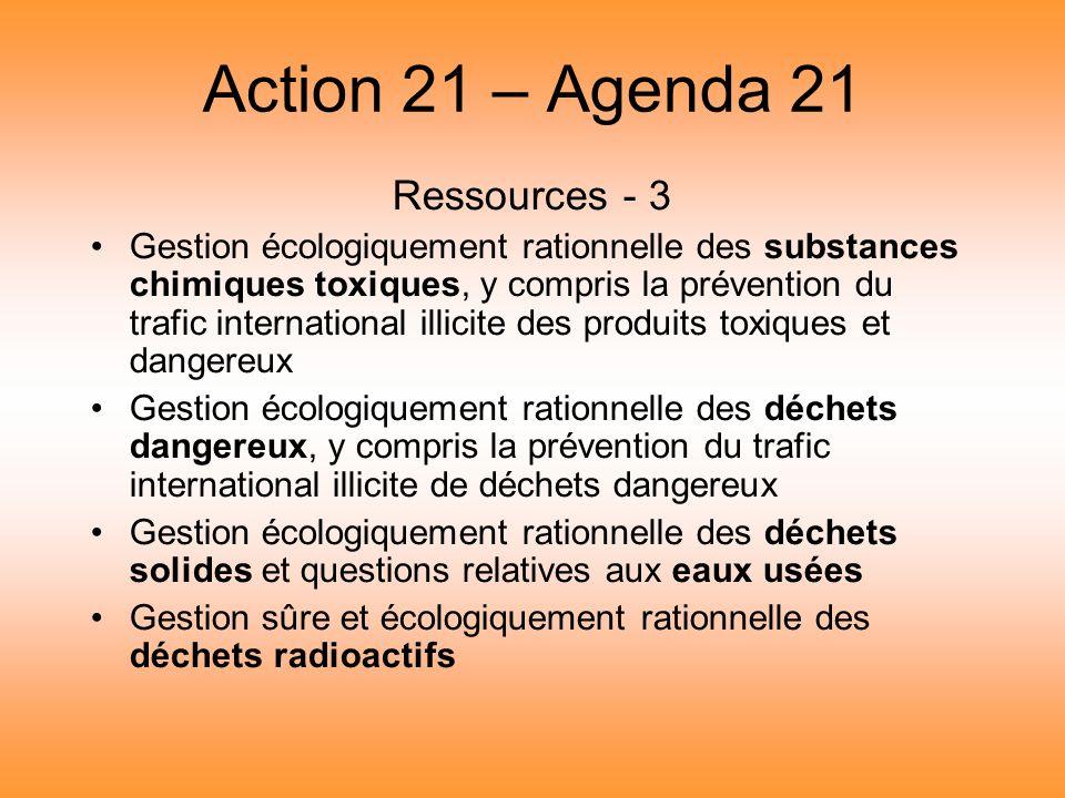 Action 21 – Agenda 21 Ressources - 3 Gestion écologiquement rationnelle des substances chimiques toxiques, y compris la prévention du trafic internati