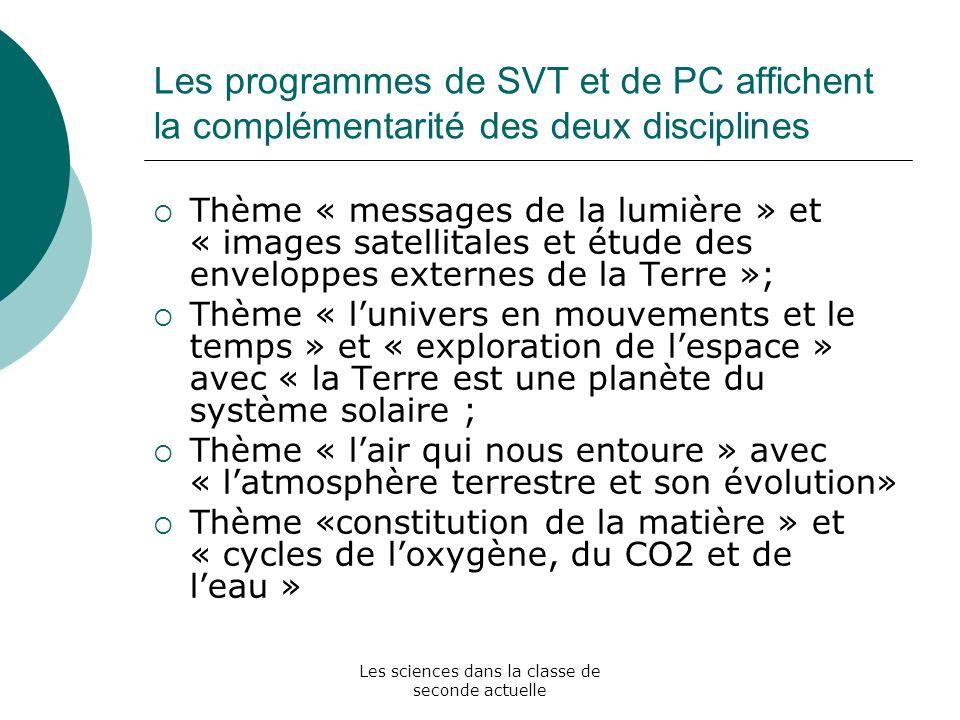 Les sciences dans la classe de seconde actuelle Les programmes de SVT et de PC affichent la complémentarité des deux disciplines Thème « messages de l