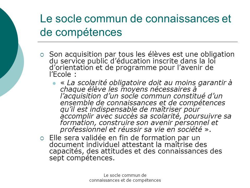 Le socle commun de connaissances et de compétences Son acquisition par tous les élèves est une obligation du service public déducation inscrite dans l