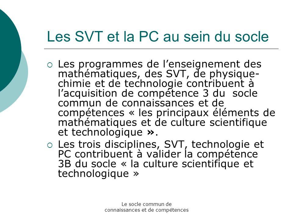 Le socle commun de connaissances et de compétences Les SVT et la PC au sein du socle Les programmes de lenseignement des mathématiques, des SVT, de ph