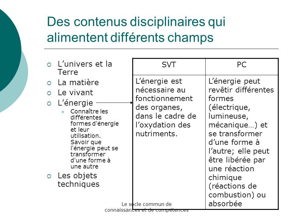 Le socle commun de connaissances et de compétences Des contenus disciplinaires qui alimentent différents champs Lunivers et la Terre La matière Le viv