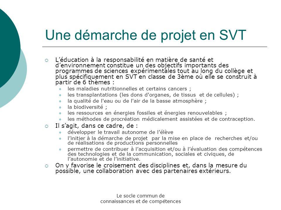 Le socle commun de connaissances et de compétences Une démarche de projet en SVT Léducation à la responsabilité en matière de santé et denvironnement