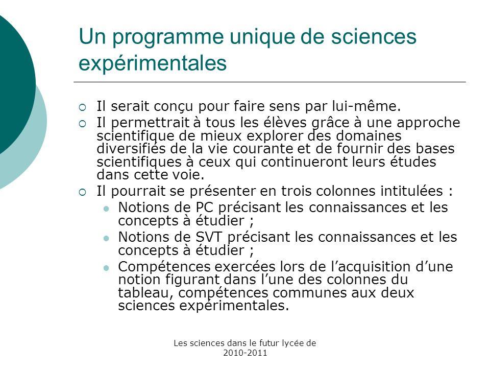 Les sciences dans le futur lycée de 2010-2011 Un programme unique de sciences expérimentales Il serait conçu pour faire sens par lui-même. Il permettr