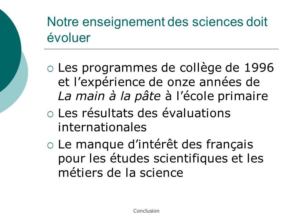 Conclusion Notre enseignement des sciences doit évoluer Les programmes de collège de 1996 et lexpérience de onze années de La main à la pâte à lécole