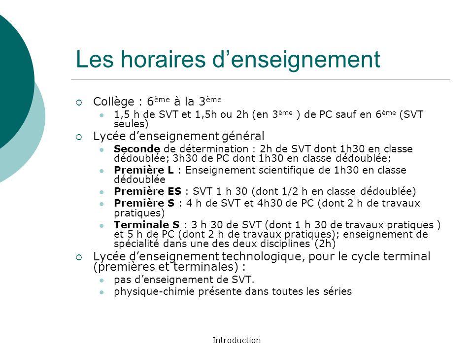 Introduction Les horaires denseignement Collège : 6 ème à la 3 ème 1,5 h de SVT et 1,5h ou 2h (en 3 ème ) de PC sauf en 6 ème (SVT seules) Lycée dense