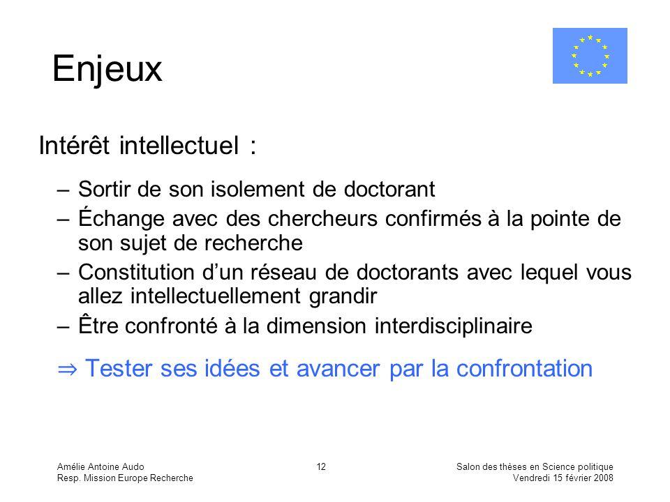 Amélie Antoine Audo Resp. Mission Europe Recherche Salon des thèses en Science politique Vendredi 15 février 2008 12 Enjeux Intérêt intellectuel : –So