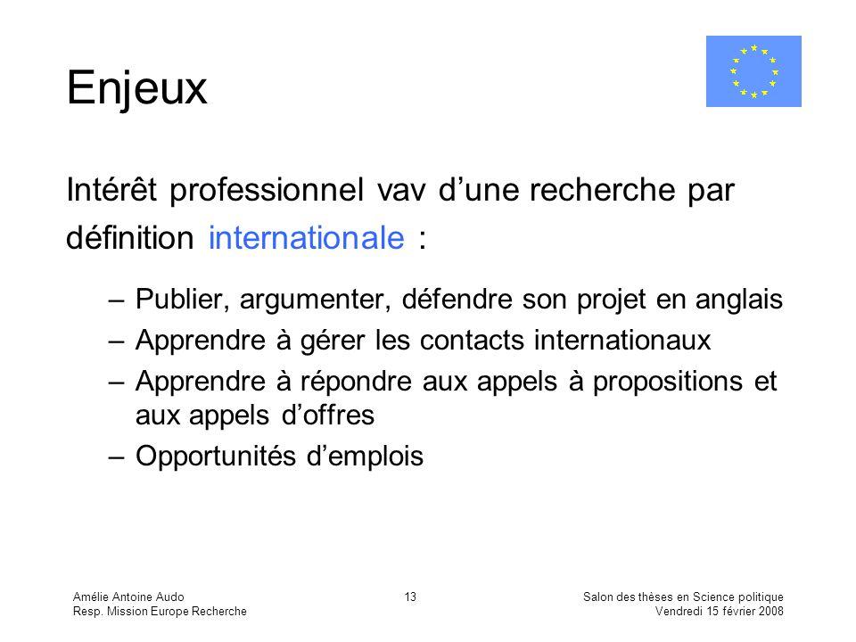 Amélie Antoine Audo Resp. Mission Europe Recherche Salon des thèses en Science politique Vendredi 15 février 2008 13 Enjeux Intérêt professionnel vav