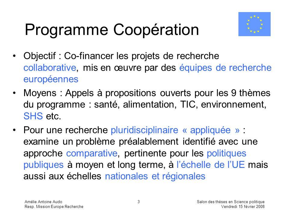 Amélie Antoine Audo Resp. Mission Europe Recherche Salon des thèses en Science politique Vendredi 15 février 2008 3 Programme Coopération Objectif : C