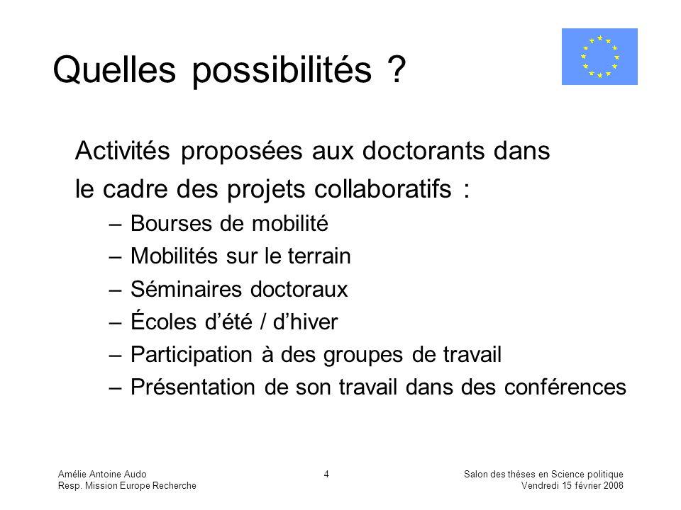 Amélie Antoine Audo Resp. Mission Europe Recherche Salon des thèses en Science politique Vendredi 15 février 2008 4 Quelles possibilités ? Activités p