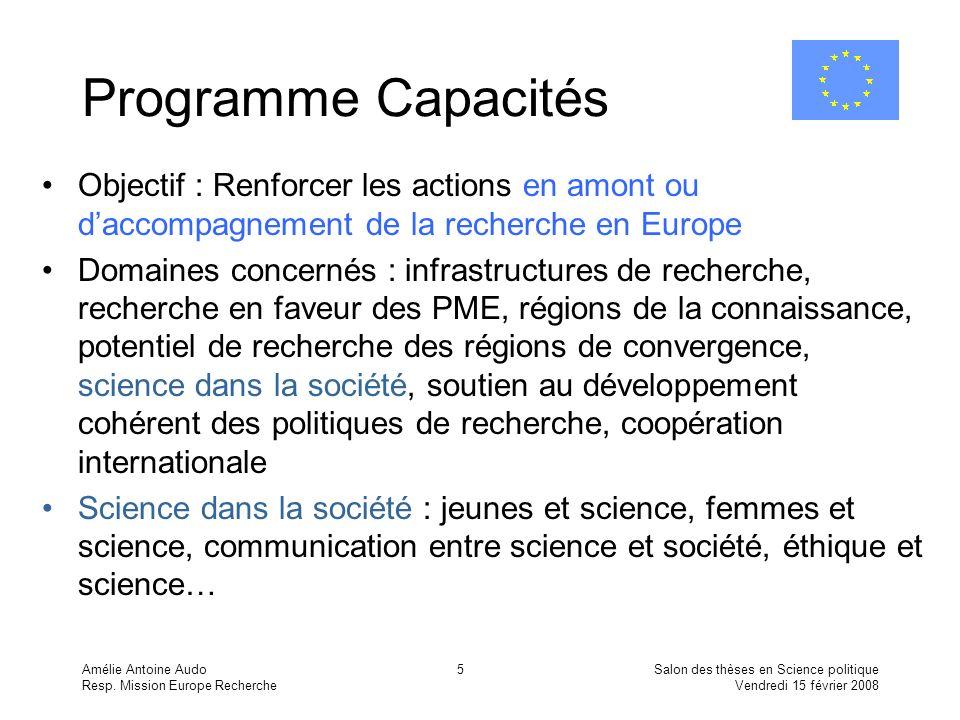 Amélie Antoine Audo Resp. Mission Europe Recherche Salon des thèses en Science politique Vendredi 15 février 2008 5 Programme Capacités Objectif : Ren