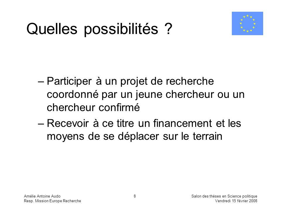 Amélie Antoine Audo Resp. Mission Europe Recherche Salon des thèses en Science politique Vendredi 15 février 2008 8 Quelles possibilités ? –Participer