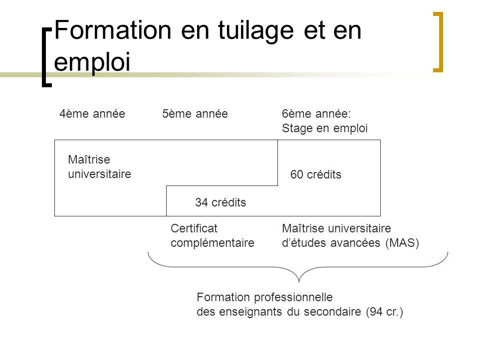 Formation en tuilage et en emploi Maîtrise universitaire 4ème année5ème année6ème année: Stage en emploi Maîtrise universitaire détudes avancées (MAS) 34 crédits 60 crédits Certificat complémentaire Formation professionnelle des enseignants du secondaire (94 cr.)