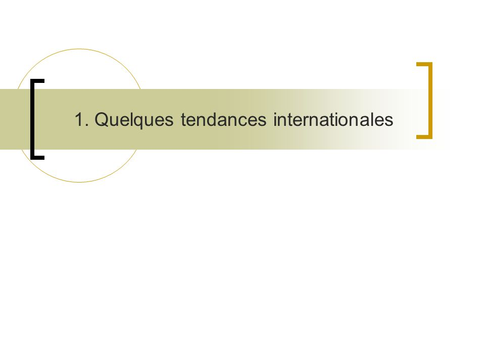 1. Quelques tendances internationales