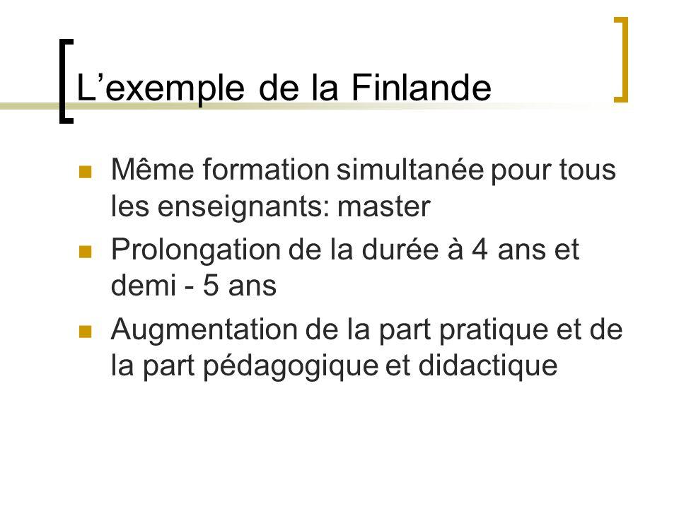Lexemple de la Finlande Même formation simultanée pour tous les enseignants: master Prolongation de la durée à 4 ans et demi - 5 ans Augmentation de la part pratique et de la part pédagogique et didactique