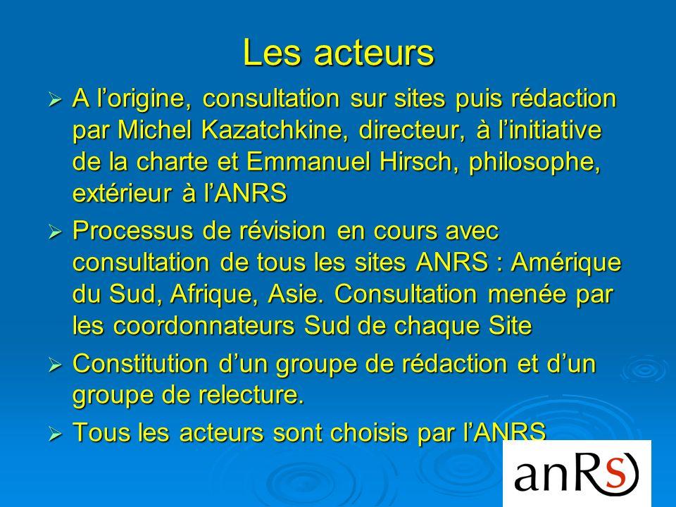 Les acteurs A lorigine, consultation sur sites puis rédaction par Michel Kazatchkine, directeur, à linitiative de la charte et Emmanuel Hirsch, philos