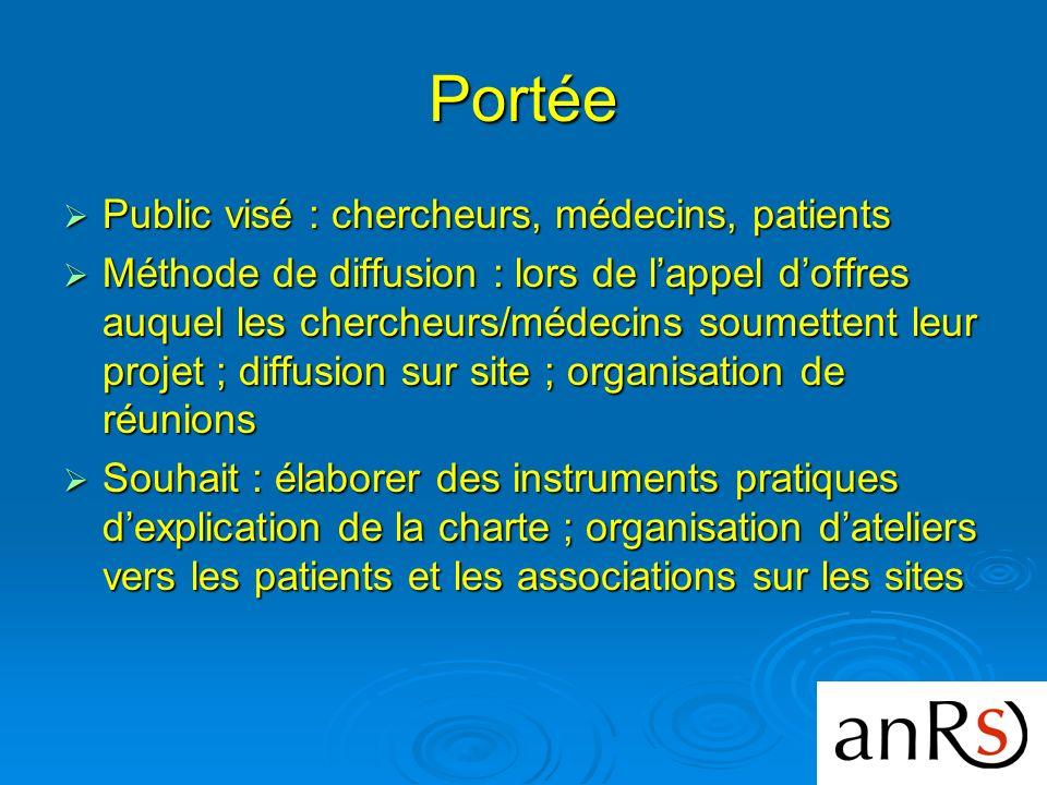 Portée Public visé : chercheurs, médecins, patients Public visé : chercheurs, médecins, patients Méthode de diffusion : lors de lappel doffres auquel