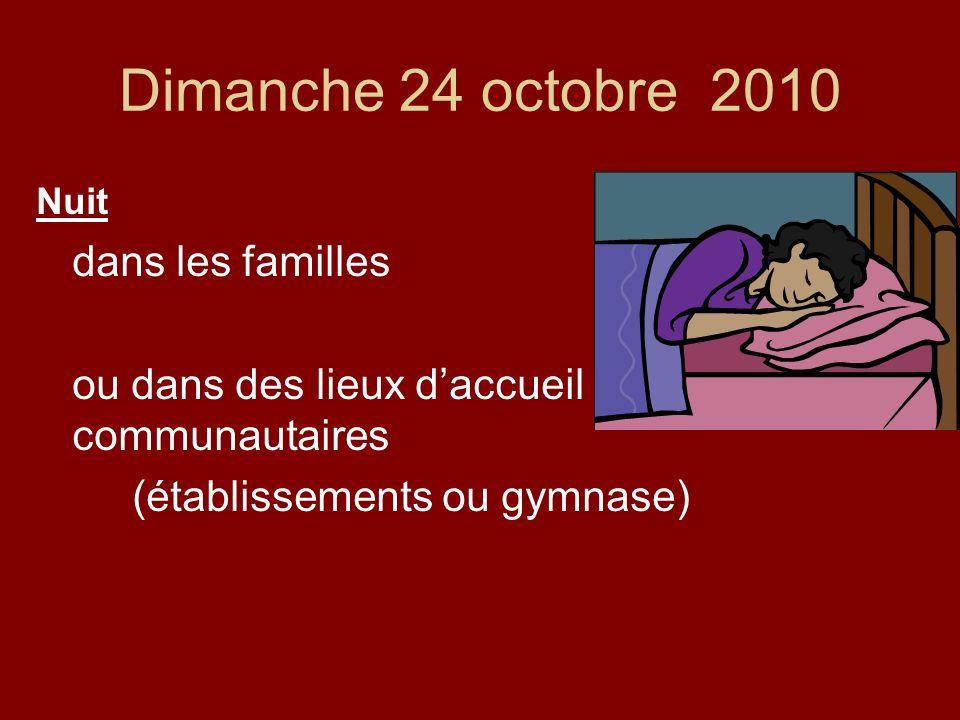 Dimanche 24 octobre 2010 Nuit dans les familles ou dans des lieux daccueil communautaires (établissements ou gymnase)