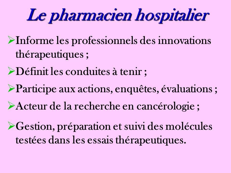 Le pharmacien hospitalier Informe les professionnels des innovations thérapeutiques ; Définit les conduites à tenir ; Participe aux actions, enquêtes,