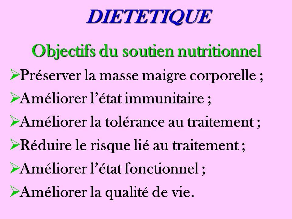 DIETETIQUE Objectifs du soutien nutritionnel Préserver la masse maigre corporelle ; Améliorer létat immunitaire ; Améliorer la tolérance au traitement