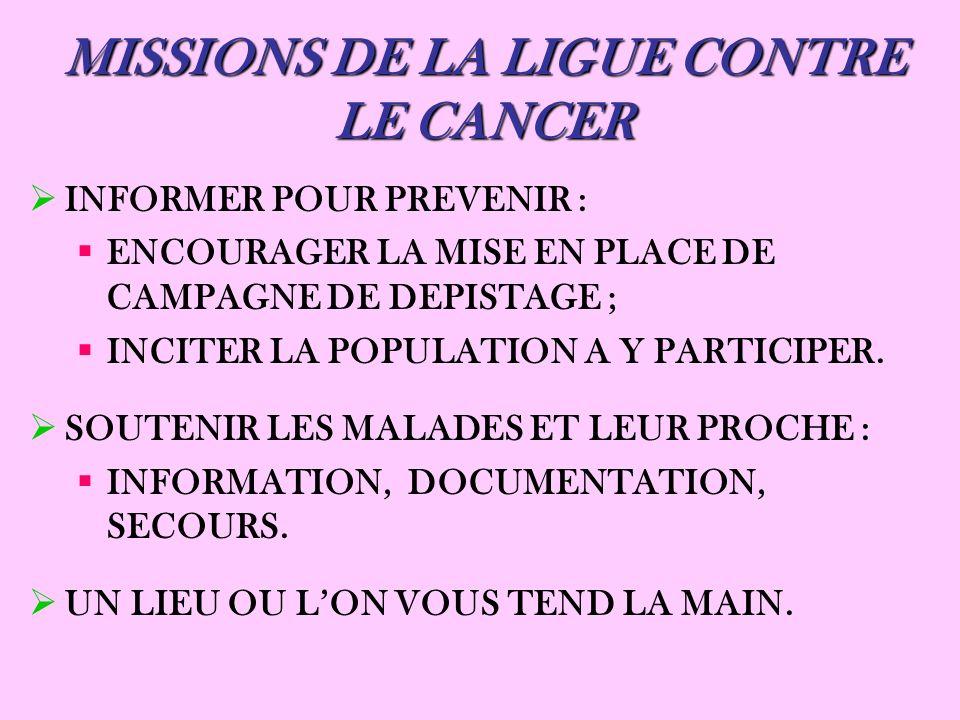 MISSIONS DE LA LIGUE CONTRE LE CANCER INFORMER POUR PREVENIR : ENCOURAGER LA MISE EN PLACE DE CAMPAGNE DE DEPISTAGE ; INCITER LA POPULATION A Y PARTIC