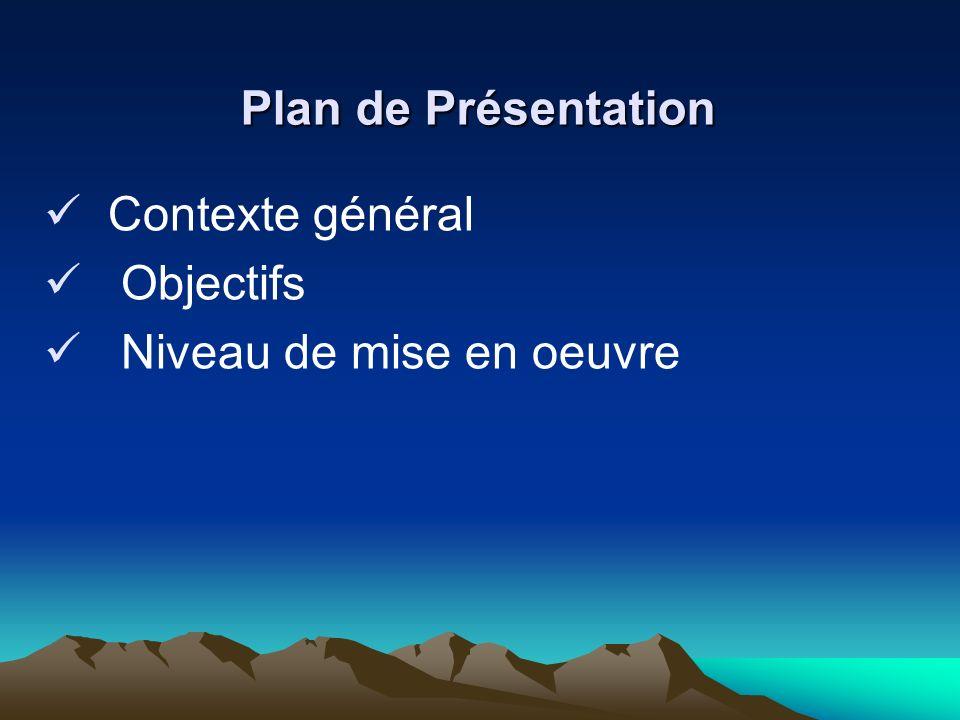 Plan de Présentation Contexte général Objectifs Niveau de mise en oeuvre