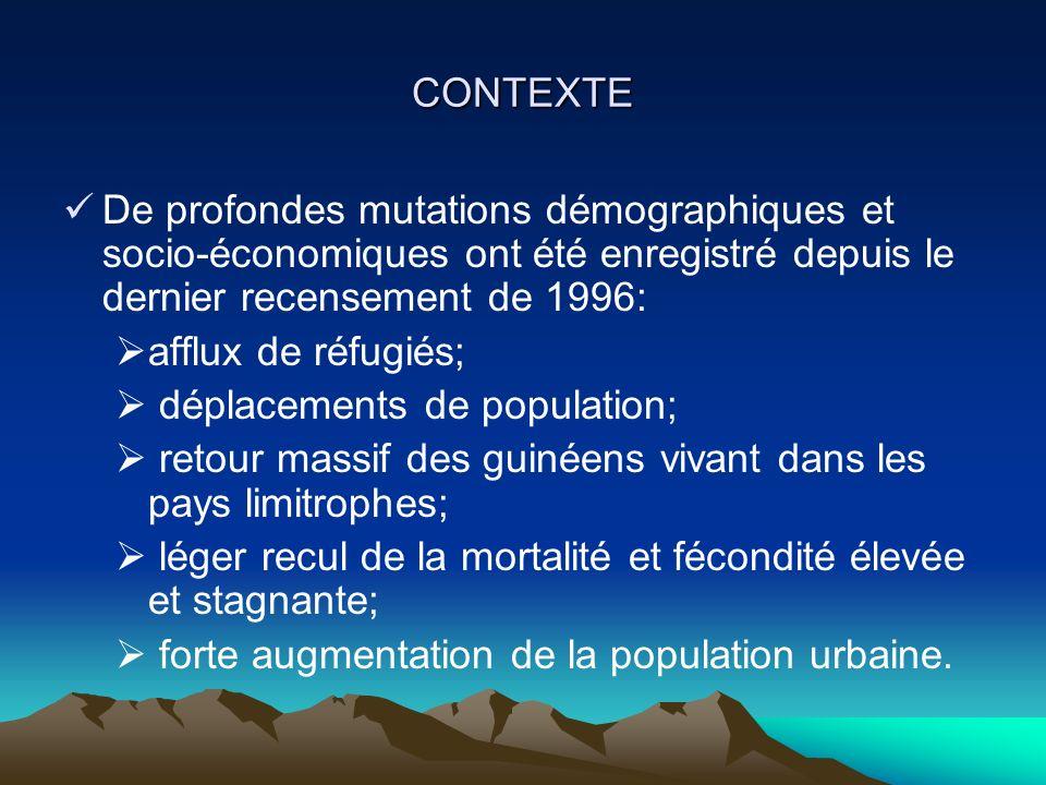 CONTEXTE De profondes mutations démographiques et socio-économiques ont été enregistré depuis le dernier recensement de 1996: afflux de réfugiés; déplacements de population; retour massif des guinéens vivant dans les pays limitrophes; léger recul de la mortalité et fécondité élevée et stagnante; forte augmentation de la population urbaine.