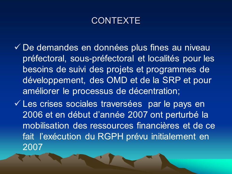 CONTEXTE De demandes en données plus fines au niveau préfectoral, sous-préfectoral et localités pour les besoins de suivi des projets et programmes de développement, des OMD et de la SRP et pour améliorer le processus de décentration; Les crises sociales traversées par le pays en 2006 et en début dannée 2007 ont perturbé la mobilisation des ressources financières et de ce fait lexécution du RGPH prévu initialement en 2007