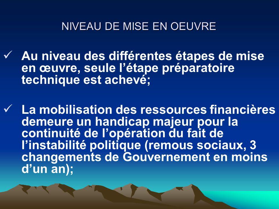 NIVEAU DE MISE EN OEUVRE La stratégie adoptée est donc de procéder par étapes : Mobiliser le financement pour lexécution de la cartographie censitaire (1,2 millions USD sur un coût total 5,8 millions USD).