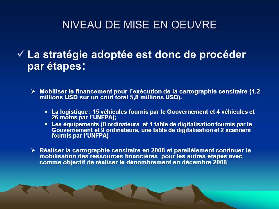 NIVEAU DE MISE EN OEUVRE La stratégie adoptée est donc de procéder par étapes : Mobiliser le financement pour lexécution de la cartographie censitaire