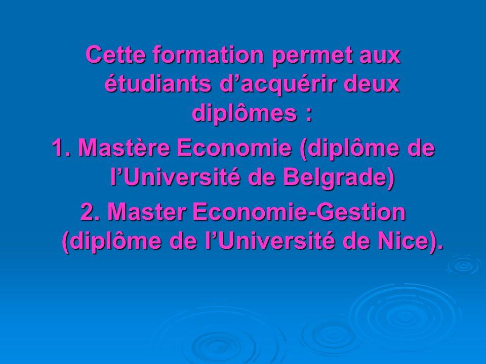 Les cours seront dispensés par des professeurs de lUniversité de Nice (France), de Coimbra (Portugal) et de la faculté des Sciences Économiques de Bel