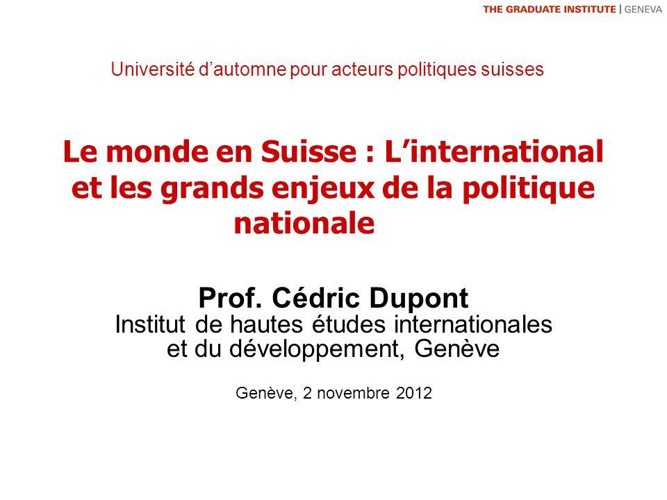 Le monde en Suisse : Linternational et les grands enjeux de la politique nationale Prof.