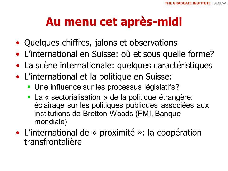 Au menu cet après-midi Quelques chiffres, jalons et observations Linternational en Suisse: où et sous quelle forme.