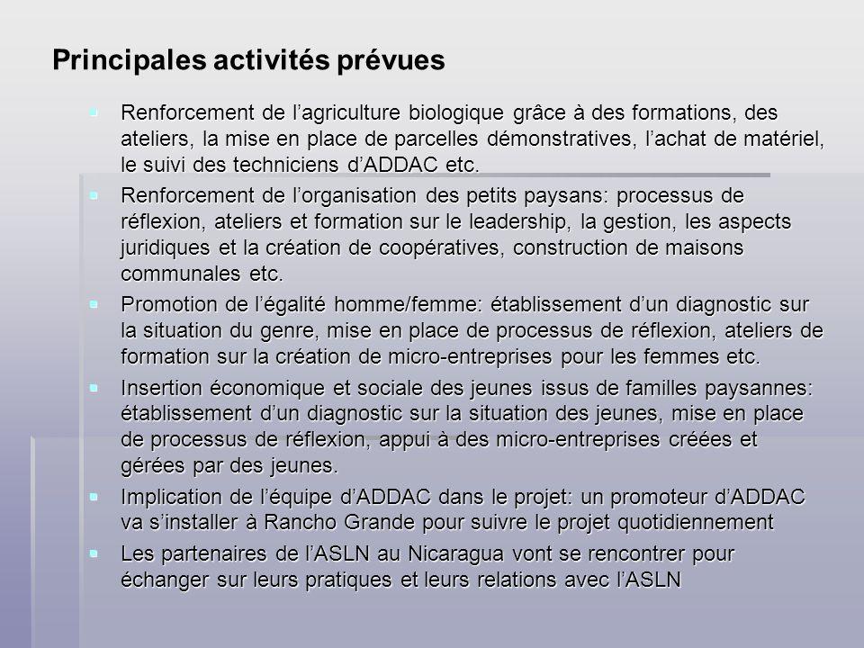 Principales activités prévues Renforcement de lagriculture biologique grâce à des formations, des ateliers, la mise en place de parcelles démonstratives, lachat de matériel, le suivi des techniciens dADDAC etc.