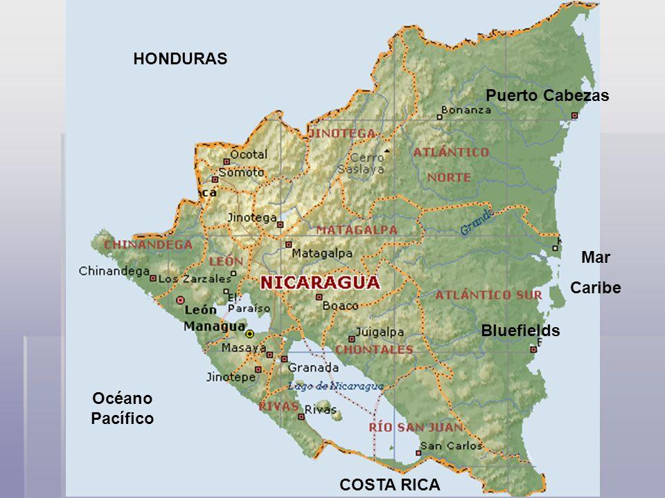 Puerto Cabezas Bluefields HONDURAS COSTA RICA Océano Pacífico Mar Caribe