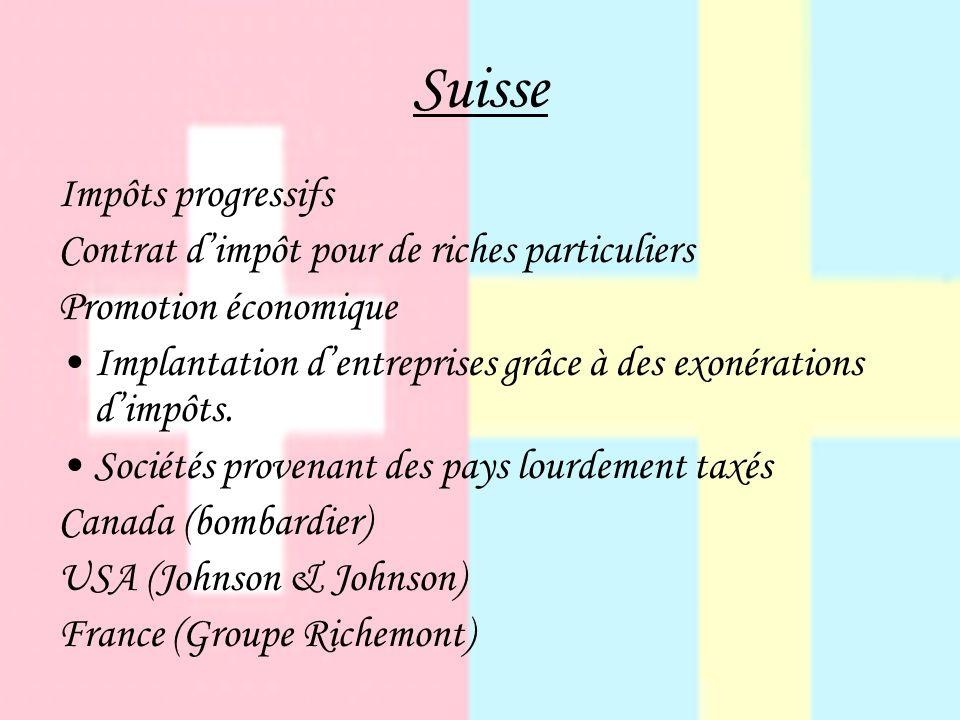 Suisse Impôts progressifs Contrat dimpôt pour de riches particuliers Promotion économique Implantation dentreprises grâce à des exonérations dimpôts.