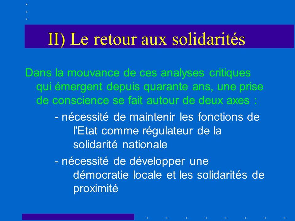 II) Le retour aux solidarités Dans la mouvance de ces analyses critiques qui émergent depuis quarante ans, une prise de conscience se fait autour de d