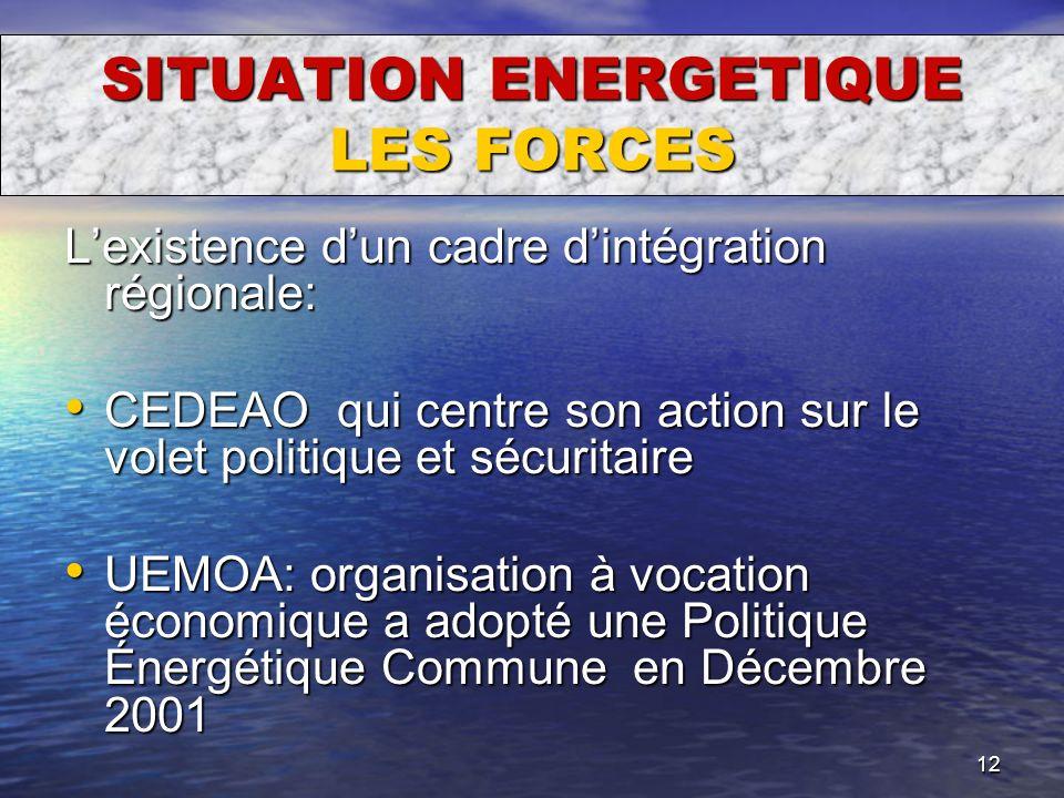 12 SITUATION ENERGETIQUE LES FORCES Lexistence dun cadre dintégration régionale: CEDEAO qui centre son action sur le volet politique et sécuritaire CE
