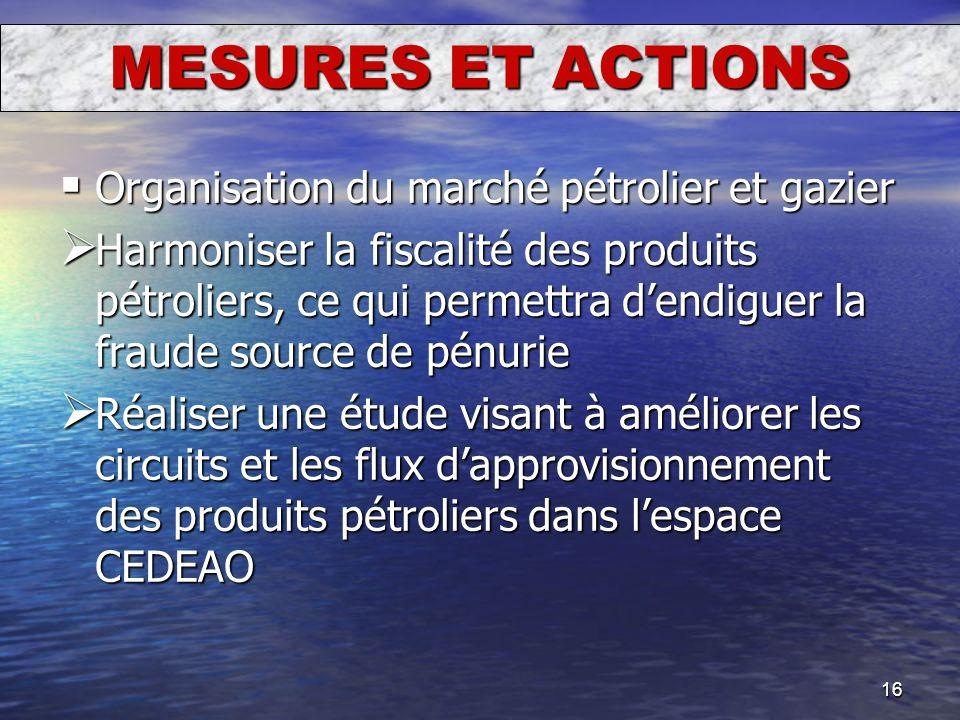 16 MESURES ET ACTIONS Organisation du marché pétrolier et gazier Organisation du marché pétrolier et gazier Harmoniser la fiscalité des produits pétro