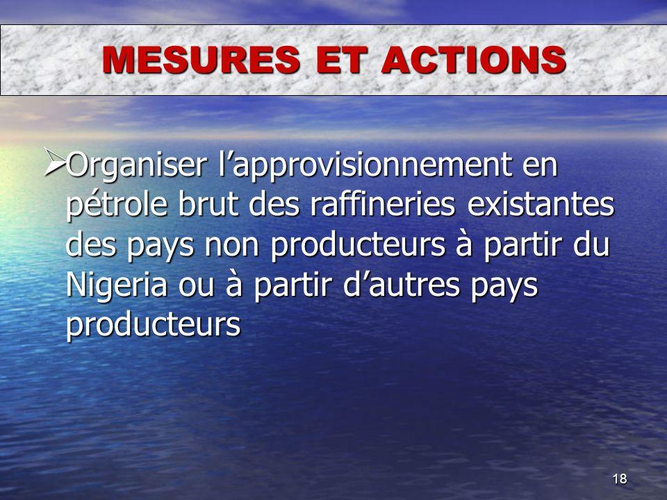 18 MESURES ET ACTIONS Organiser lapprovisionnement en pétrole brut des raffineries existantes des pays non producteurs à partir du Nigeria ou à partir