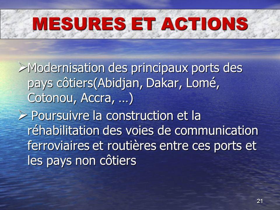 21 Modernisation des principaux ports des pays côtiers(Abidjan, Dakar, Lomé, Cotonou, Accra, …) Modernisation des principaux ports des pays côtiers(Ab