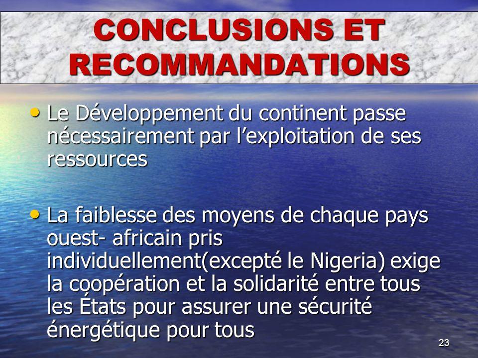 23 CONCLUSIONS ET RECOMMANDATIONS Le Développement du continent passe nécessairement par lexploitation de ses ressources Le Développement du continent