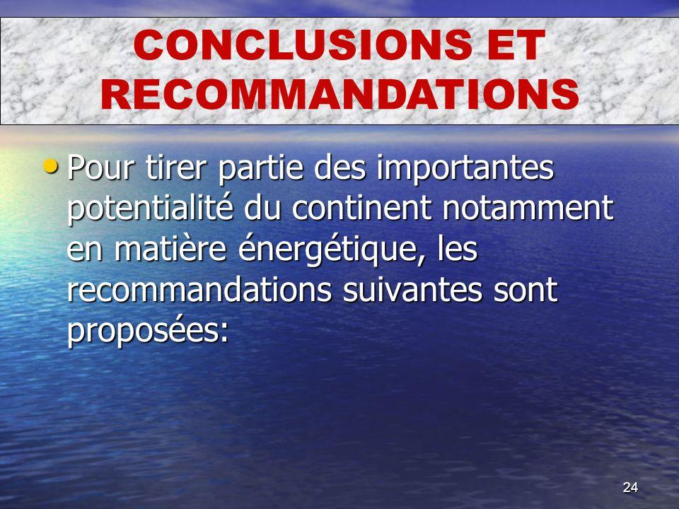 24 Pour tirer partie des importantes potentialité du continent notamment en matière énergétique, les recommandations suivantes sont proposées: Pour ti