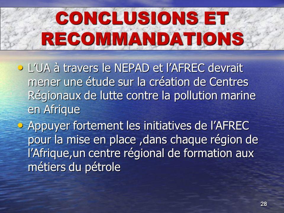 28 CONCLUSIONS ET RECOMMANDATIONS LUA à travers le NEPAD et lAFREC devrait mener une étude sur la création de Centres Régionaux de lutte contre la pol