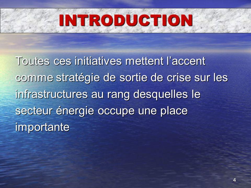 4 INTRODUCTION Toutes ces initiatives mettent laccent comme stratégie de sortie de crise sur les infrastructures au rang desquelles le secteur énergie